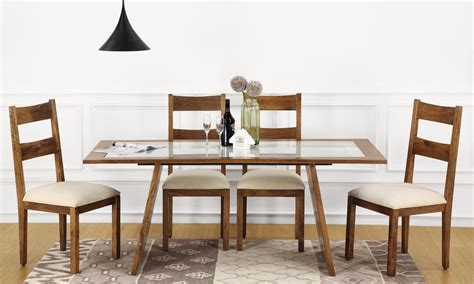 Buy Larne 6 Seater Dining Table, Glass Top online in India