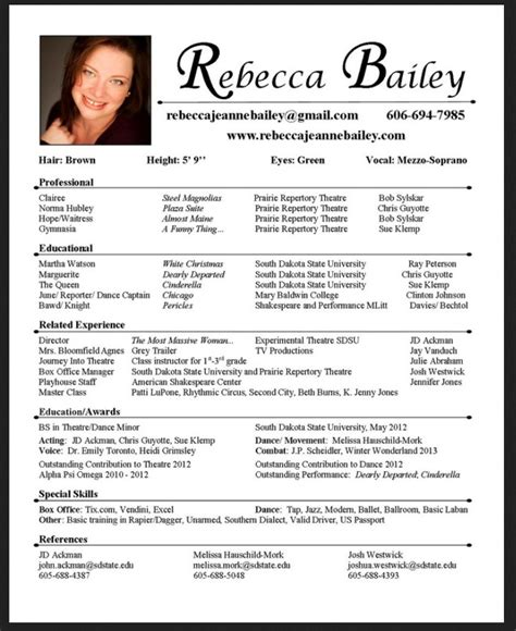 actor resume template free acting resume template for microsoft word resumes design