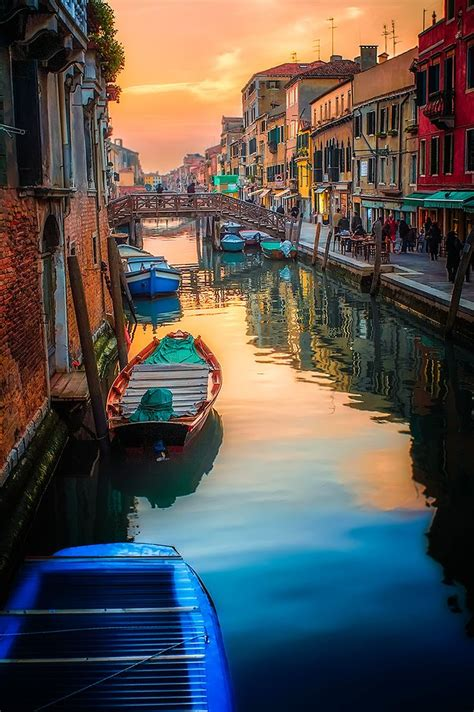 Venice Italy Boats City View Water Reflections Sun