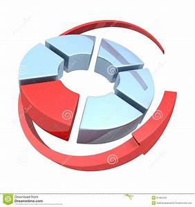 Wheel Diagram Or Pie Chart Icon With Cycled Arrow Around