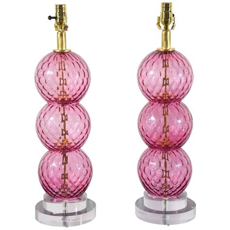 pink murano glass l pair of pink stacked murano glass ls