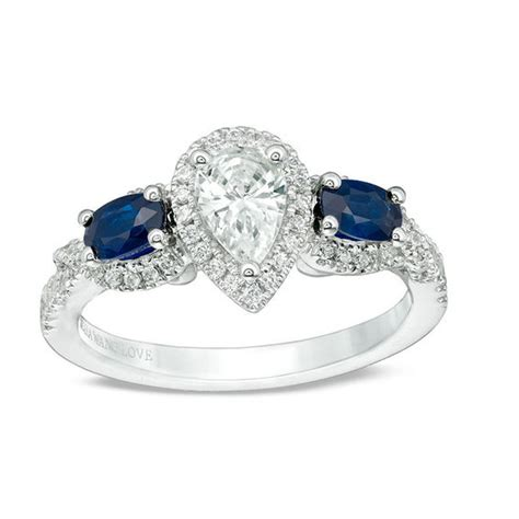vera wang love collection 3 4 ct t w pear shaped diamond and oval sapphire three stone ring in