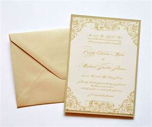 gold wedding invitations rectangle cream floral pattern With wedding invitations heavy paper