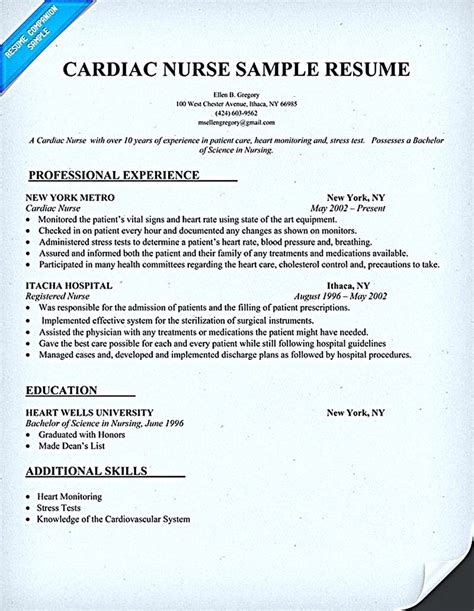 Resume Sle For Nursing by Pin On Resume Sles Nursing Resume Nursing Resume