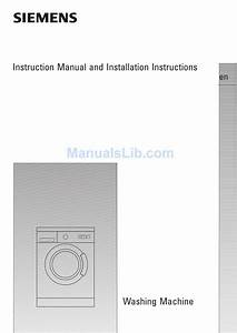Siemens Wxl166agb Instruction Manual And Installation