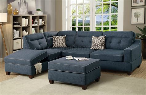 F6523 Sectional Sofa & Ottoman Set In Dark Blue Fabric By Boss