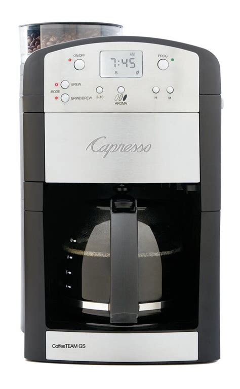 Drip coffee maker with grinder. Capresso CoffeeTEAM GS in 2020 | Coffee maker with grinder, Best coffee maker, Coffee maker