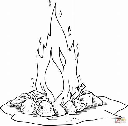 Coloring Pages Campfire Fire Camping Printable בעומר