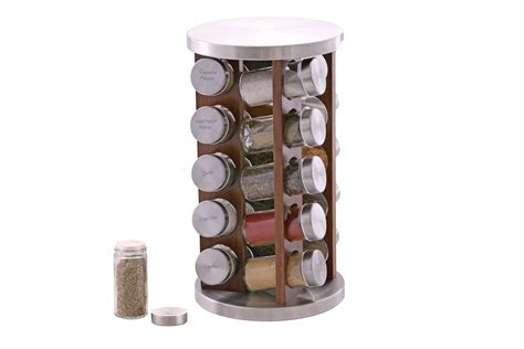 Stainless Steel 20 Jar Spice Rack by Orii 20 Jar Acacia Wood Stainless Steel Rotating Spice Rack