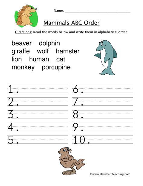 alphabetical order worksheet mammals