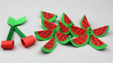 how to make paper fruits cherry amp watermelon crafts 584 | maxresdefault
