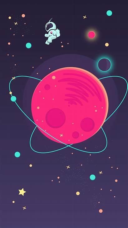 Space Iphone Astronaut Minimal Illustration Cartoon Background