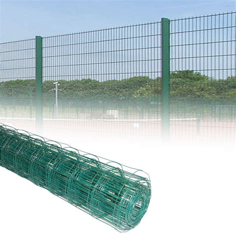 12m Green Pvc Coated Steel Mesh Fencing Wire Garden