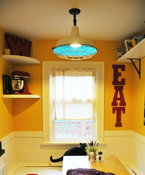 kitchen nook diy upcycled industrial light fixture