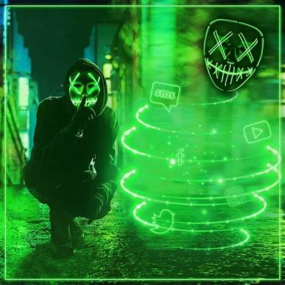 Cool Neon Mask Pantalla Fondos Theme Gas