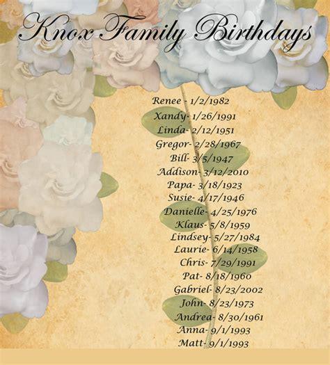 Family Birthday Calendar Template by Sle Birthday Calendar Template 13 Documents In Pdf