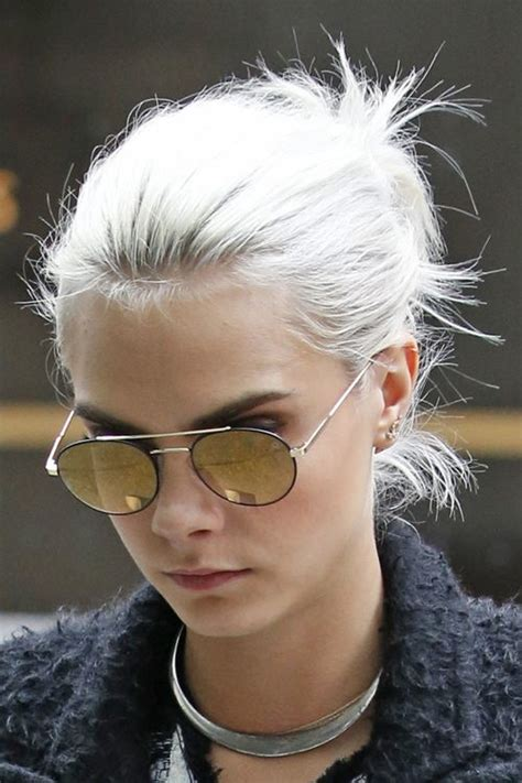 delevingne straight silver messy ponytail hairstyle