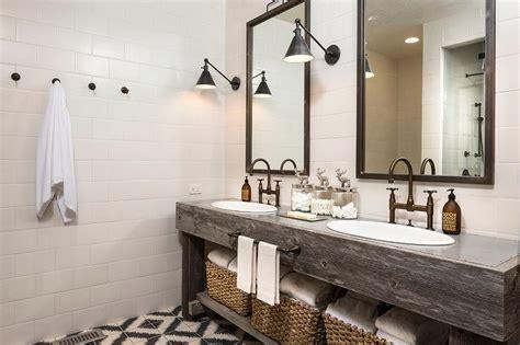 bathroom wood vanities country style bathroom with reclaimed wood dual vanity