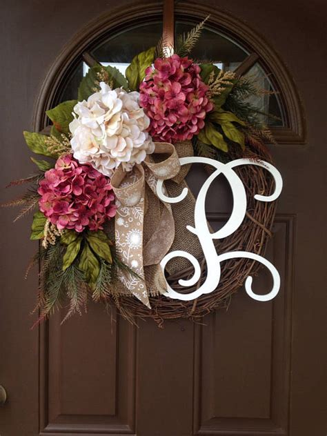 spring summer hydrangea wreath  front door