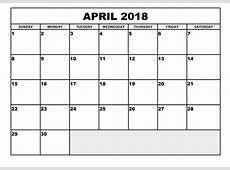 April Month 2018 Calendar Excel Free Indo Templates