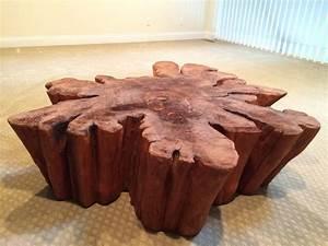 redwood live edge slab coffee table at 1stdibs With live edge redwood coffee table