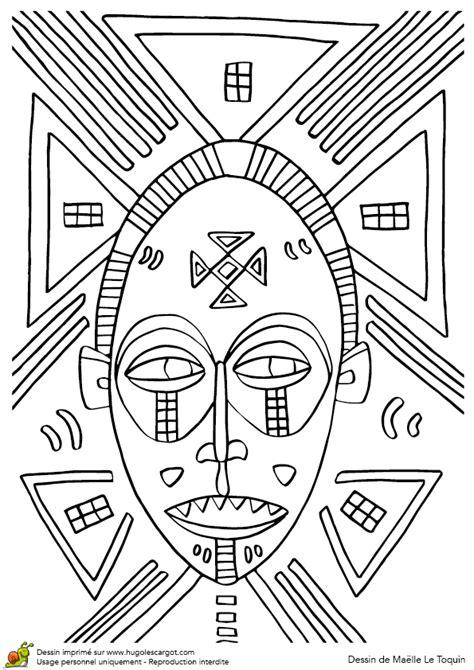 coloriage masque africain dents pointues sur hugolescargotcom