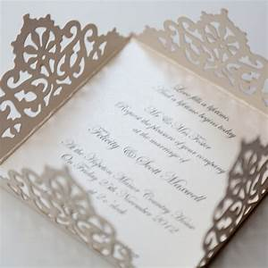 lace edged ivory square laser cut wedding invitation With laser cut wedding invitations with photo