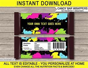 templates for candy bar wrappers - neon glow hershey candy bar wrappers personalized candy bars