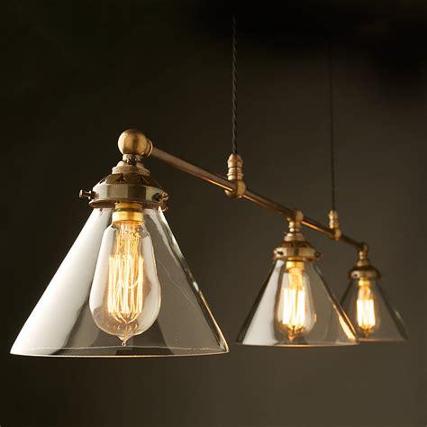 billiard light brass cone shade clear edison lighting
