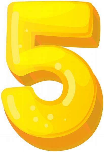 Five Clipart Yellow Numbers Transparent Yopriceville