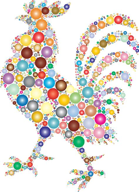 Free Vector Clipart Images Rooster Made From Colorful Orbs Vector Clipart Image