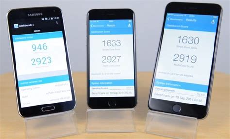 iphone 6 processor speed iphone 6 vs galaxy s5 in benchmark speed test