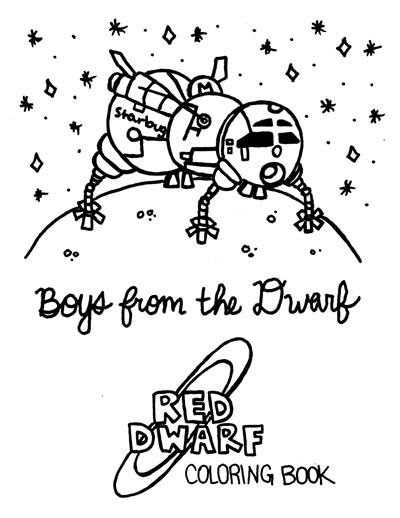 red dwarf coloring book zine page   spaceradish