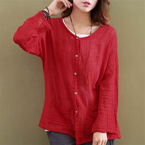 solid red white cotton women blouses shirt long sleeve