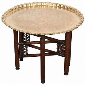 Vintage Moroccan Etched Brass Round Tray Table at 1stdibs