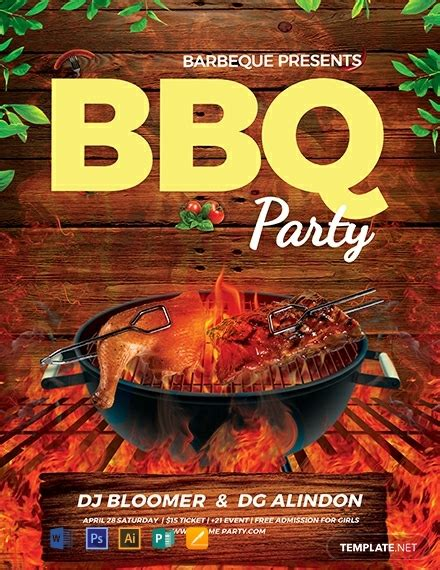 bbq flyer template word psd apple pages
