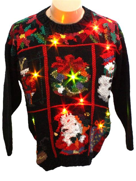 light up ugly sweater light up ugly christmas sweater retro look crystal kobe