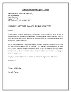 advanced writing templates advance salary request letter template by