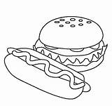 Coloring Hamburger Food Pages Printable Sheets Easy Drawing Models Colouring Clipart Hamburgers Dinner Fun Fast Sheet Burgers Template Healthy Breakfast sketch template