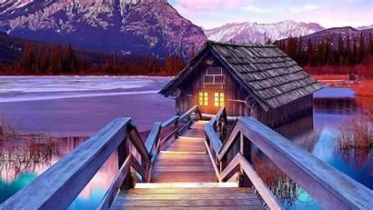 Lake Mountain Scenery Boathouse Wallpapers Mountains Nature