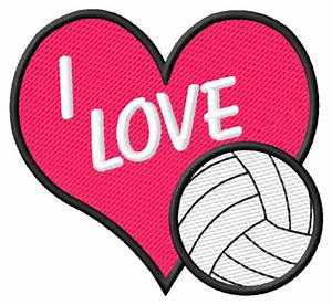 I, Love, Volleyball, Embroidery, Design