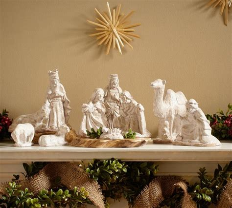 ceramic nativity set traditional holiday accents and