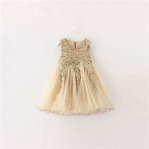 Christmas Gold Sequin Girl Dress 2016 New Summer Ball Gown ...