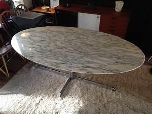 Table Marbre Ovale : table en marbre roche bobois ovale 1970 design market ~ Teatrodelosmanantiales.com Idées de Décoration