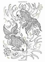 Coloring Pages Adults Tattoo Fish Koi Adult Books Colouring Photobucket Bendon Dieren Animal Insecten Print Mandala Munden Oliver Jo Waterhouse sketch template