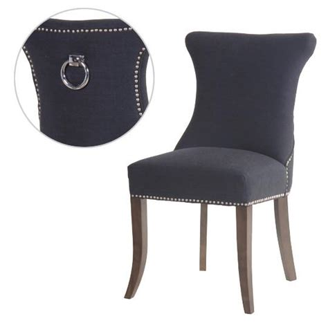 grey slim studded dining chair with silver ring