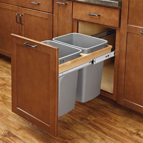 pull out garbage cabinet rev a shelf double trash pullout 35 quart w soft close