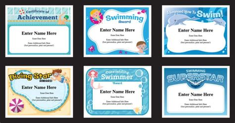 swimming certificates templates swim awards swimming coach