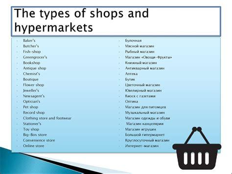 types  shops  hypermarkets prezentatsiya onlayn