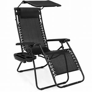 Folding, Zero, Gravity, Recliner, Lounge, Chair, W, Shade, U0026, Cup, Holder, Black